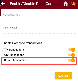 PNB Mobile banking  enable online transactions
