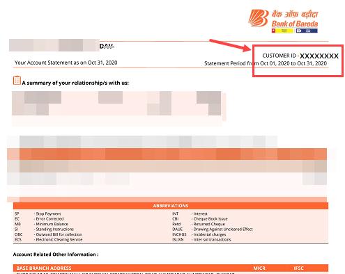 Check Bank of Baroda Customer ID (CIF) by SMS