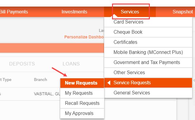 Bank of Baroda net banking service request