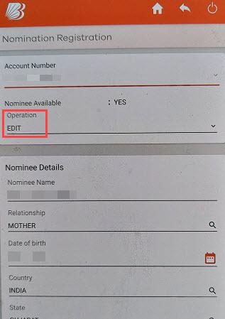 Nominee in Bank of Baroda Account online