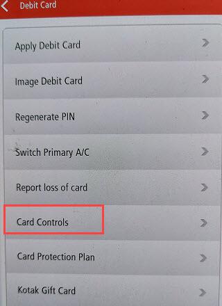 Kotak Debit card online transactions