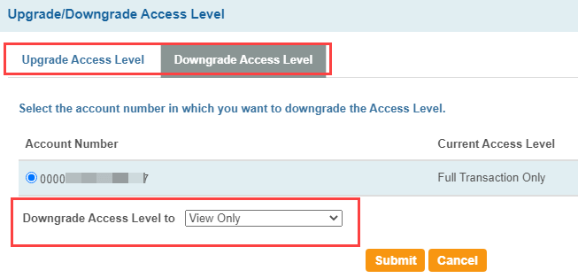 SBI net banking Access level