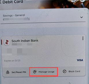 South Indian Bank Mobile Banking manage debit card usage