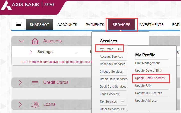 axis bank update register email ID