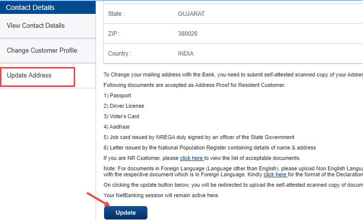 Change/Update HDFC Bank Account Address Online