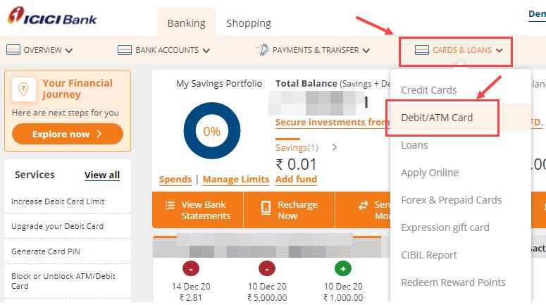 icici net banking ATM/Debit Card