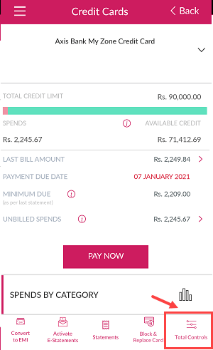 Axis Bank Mobile Banking manage credit card