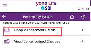 Submit SBI Cheque Details (Positive Pay) Online